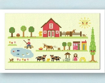 Our Farm. Large Cross Stitch Pattern. PDF File