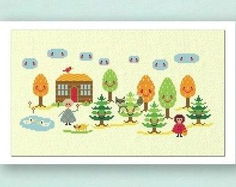 Little Red Riding Hood. Large Cross Stitch Pattern PDF File