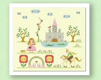 My Princess Castle. Large Modern Simple Cute Counted Cross Stitch Pattern PDF File. Instant Download
