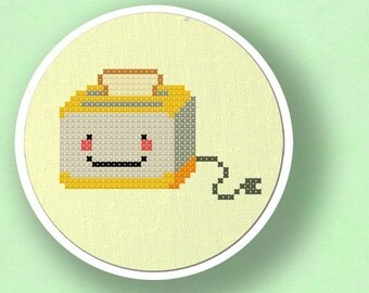 Toaster. Modern Simple Cute Counted Cross Stitch PDF Pattern. Instant Download