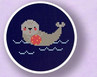 Adorable Baby Seal. Cross Stitch Pattern PDF File