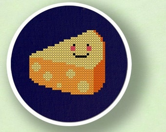 Happy Cheese. Cross Stitch Pattern PDF Instant Download