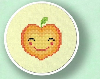 Happy Peach. Fruit Modern Simple Cute Counted Cross Stitch Pattern PDF File. Instant Download