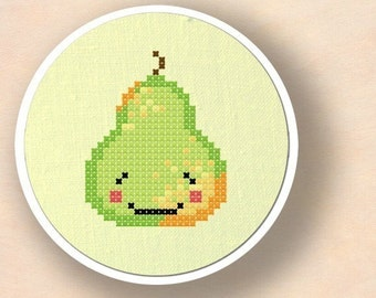 Happy Pear. Fruit Cross Stitch Pattern PDF File