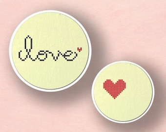 Love. Text Modern Simple Cute Set Counted Cross Stitch PDF Pattern. Instant Download