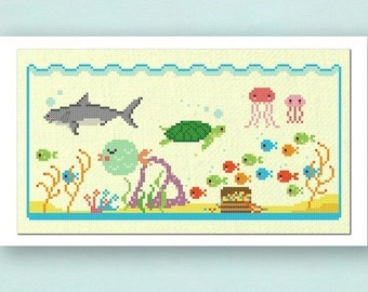 Under the Sea. Large Ocean Modern Simple Cute Ocean Life Counted Cross Stitch PDF Pattern Instant Download