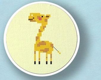 Cute Giraffe. Modern Simple Cute Counted Cross Stitch Pattern. PDF File. Instant Download