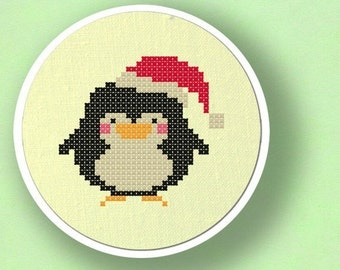 Christmas Penguin. Modern Simple Cute Counted Cross Stitch PDF Pattern. Instant Download