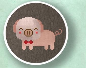 Cute Piggy. Modern Simple Cute Counted Cross Stitch PDF Pattern. Instant Download