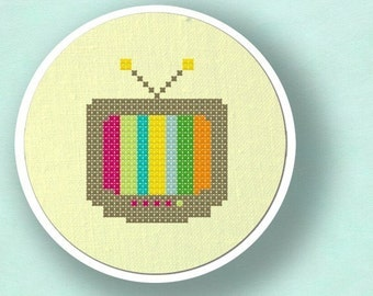 Television. Colorful Modern Simple Cute Counted Cross Stitch PDF Pattern. Instant Download