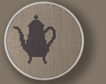 Tea Anyone. Teapot Cross Stitch PDF Pattern