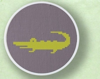 Cute Crocodile Silhouette. Modern Simple Cute Cross Stitch PDF Pattern