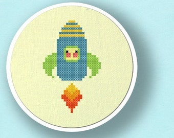 Cute Rocket. Modern Simple Cute Counted Cross Stitch PDF Pattern. Instant Download