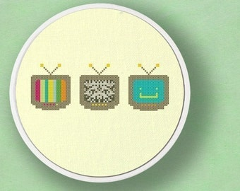 Television. Set of Three Modern Simple Cute TV Counted Cross Stitch PDF Patterns. Instant Download
