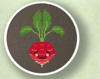 Happy Radish. Cross Stitch PDF Pattern