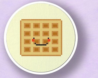 Yummy Waffle. Modern Simple Cute Food Counted Cross Stitch PDF Pattern. Instant Download