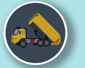 Yellow Dump Truck. Modern Simple Cross Stitch PDF Pattern. Instant Download