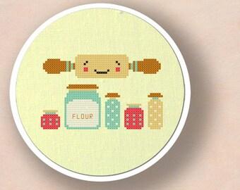 Rolling out Sweets. Baking Cross Stitch PDF Pattern