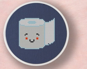 Toilet Paper. Modern Simple Cute Cross Stitch PDF Pattern. Instant Download