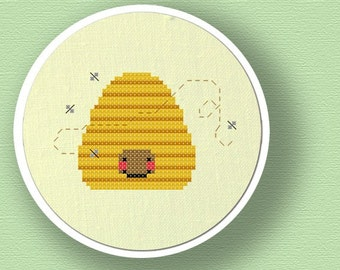 Bee Hive. Modern Simple Cute Counted Cross Stitch PDF Pattern. Instant Download