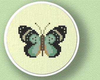 Pretty Butterfly. Modern Simple Counted Cross Stitch Pattern PDF File. Instant Download