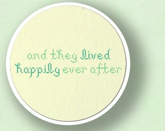 And They Lived Happily Ever After. Text Modern Simple Cute Counted Cross Stitch PDF Pattern. Instant Download
