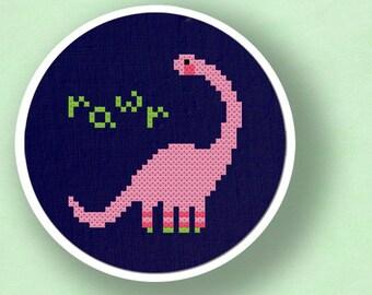 Cute Pink Dino. Girly Dinosaur Cross Stitch Pattern PDF File