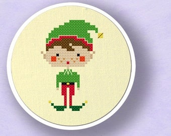 Happy Christmas Elf Boy. Modern Simple Cute Counted Cross Stitch Pattern PDF File. Instant Download