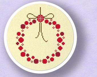 Red Ornament Wreath. Christmas Modern Simple Holiday Counted Cross Stitch Pattern PDF File. Instant Download