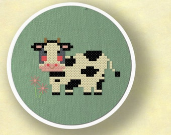 Moo. Sweet Cow Amongst Flowers Modern Simple Cute Counted Cross Stitch Pattern PDF File. Instant Download