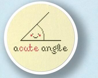Acute Angle. Pun Cross Stitch PDF Pattern