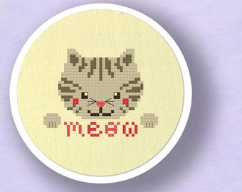Grey Kitten Goes Meow. Cat Modern Simple Cute Counted Cross Stitch Pattern PDF File. Instant Download