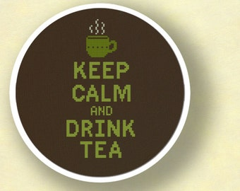 Keep Calm and Drink Tea. Modern Simple Cute Cross Stitch Pattern PDF Instant Download