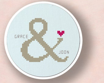 Couple Ampersand Love. Personalizable Cross Stitch Pattern Custom PDF File