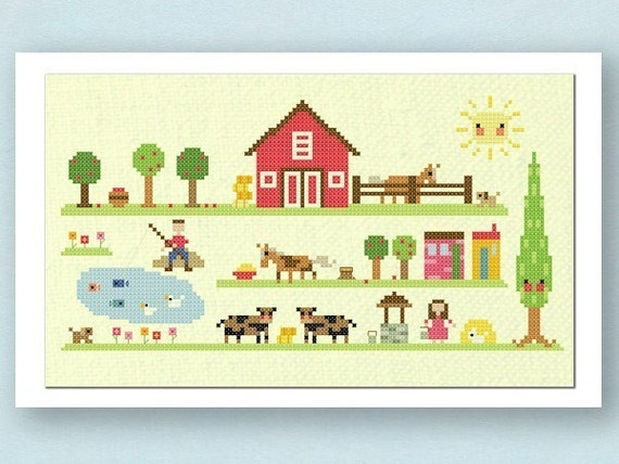Our Farm Cross Stitch Pattern. Large Modern Simple Cute