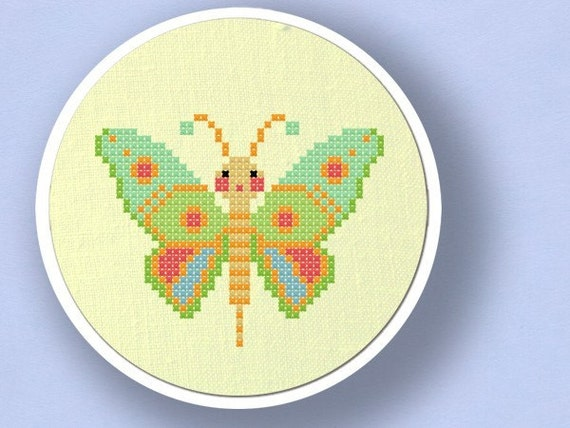 Colorful Butterfly. Cross Stitch PDF Pattern
