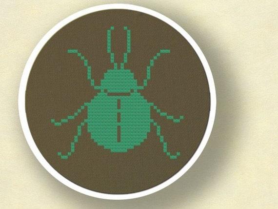 Beetle Silhouette. Cross Stitch PDF Pattern