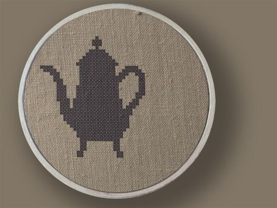 Tea Anyone. Teapot Cross Stitch PDF Pattern