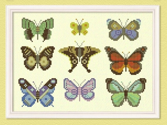 The Butterfly Collector Large Cross Stitch Pattern. PDF