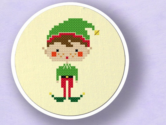 Happy Christmas Elf Boy. Cross Stitch Pattern PDF File