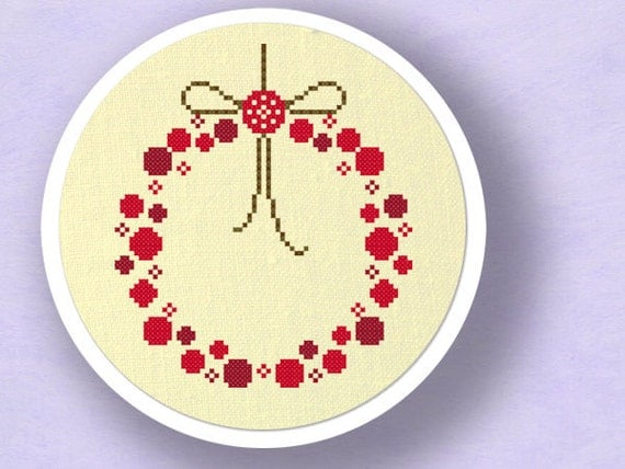 Red Ornament Wreath. Christmas Cross Stitch Pattern PDF File