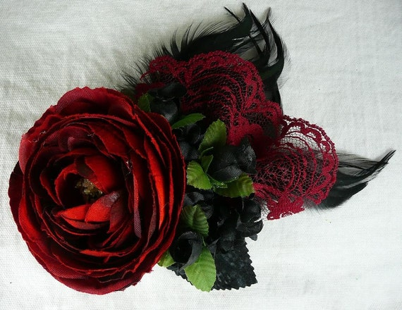 Lolita Red Rose and Lace Fascinator