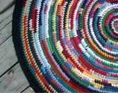 Round Rag Rug Multi Color 46 Inches