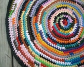 Colorful Round Rag Rug 32 inches Handmade From Reclaimed T Shirts Bold Colors