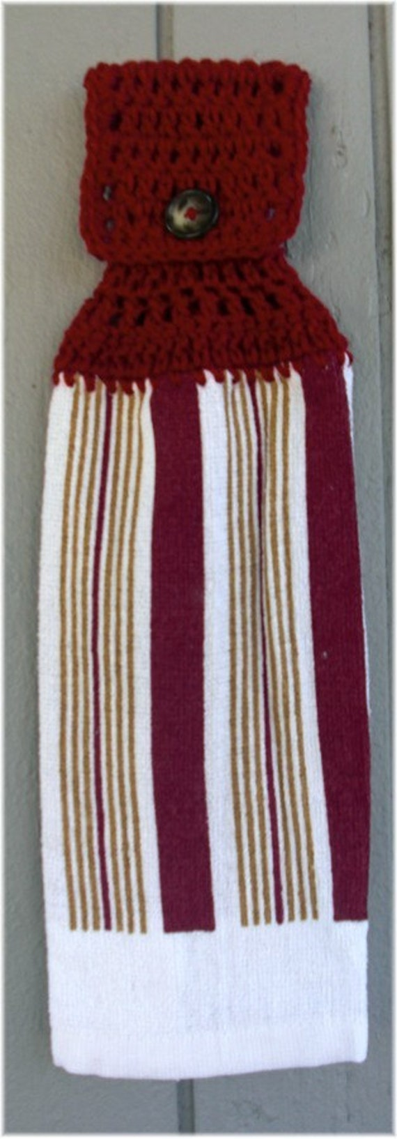 Hanging Kitchen Towel White with Maroon and Gold Stripes