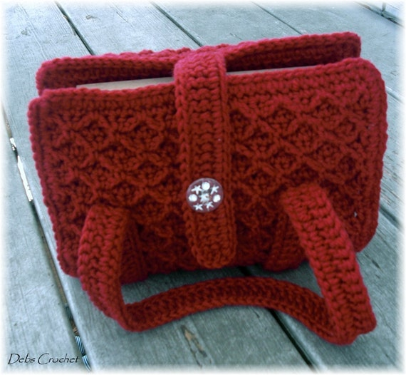 Crochet A Book Cover : Bible book cover tote adjustable maroon crochet