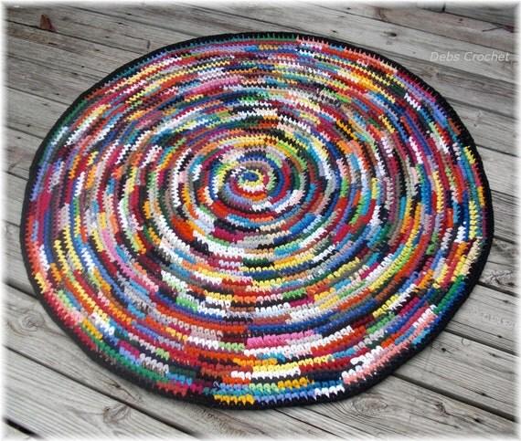 Round Multi Color Rag Rug 50 Inches