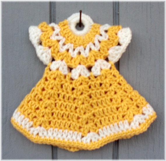 Free Crochet Pattern Dress Potholder : Items similar to Doll Dress Pot Holder Yellow & White on Etsy
