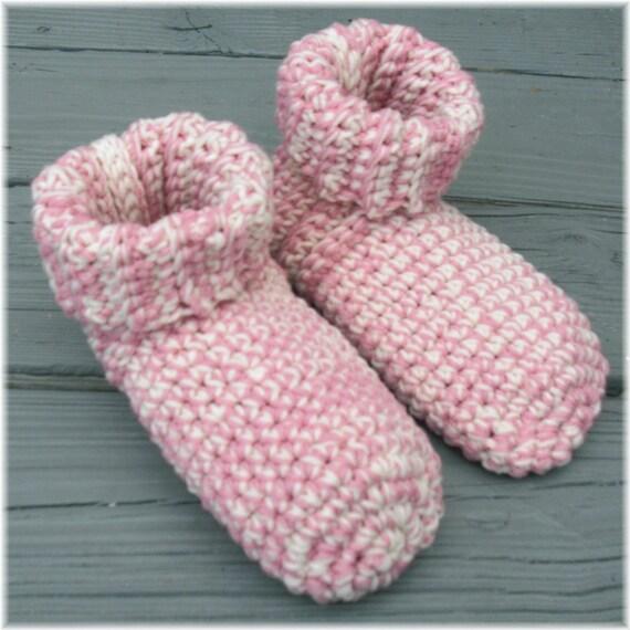 Crochet Slipper Socks Booties Pink & White Size Womans Large