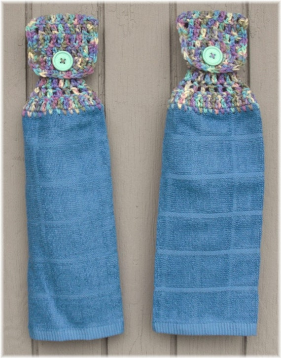 Hanging Kitchen Towel Blue with Variegated Top Matching Pair